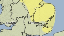 Area covered by the yellow weather warning for snow and ice.