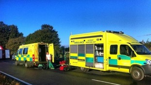 Ambulances at the scene of the crash this morning