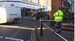 The loader is still in place outside the bank in Leighton Buzzard