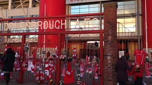 Floral tributes for Ali Brownlee outside Middlesbrough AFC stadium.