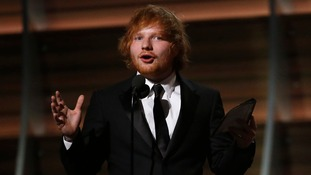 Ed Sheeran said he was 'chuffed' to get his first Grammy.
