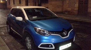 Maragret's car, a light blue Renault Captur.