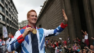Greg Rutherford at the Olympic parade yesterday