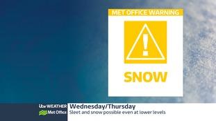 Snow forecast overnight on Wednesday