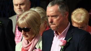 Hollie Gazzard's parents Mandy and Nick pictured at her funeral in May 2014
