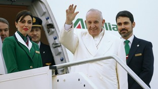 The Alitalia Airlines flight carrying the Pope landed safely in Mexico City after being targeted by a laser beam