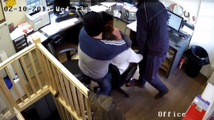 Moment robbers choke a man to steal his Rolex watch is caught on CCTV video