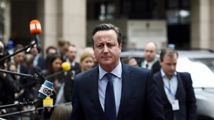 David Cameron pictured as he arrived for the summit of EU leaders.