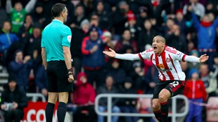 Wahbi Khazri appeals to the referee during Sunderland's victory over Manchester United last weekend.