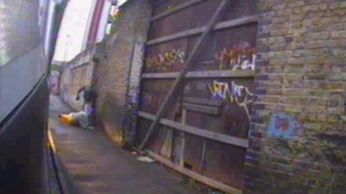 A road rage motorist has been caught on CCTV video beating up lorry driver in alley way after saying his car was damaged in a crash.