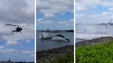 The helicopter came down at Pearl Harbour, Hawaii