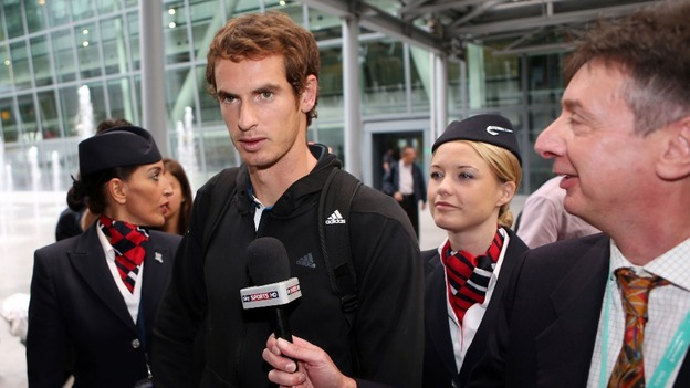 US Open winner Andy Murray arrives back at Terminal 5 at Heathrow Airport, west London