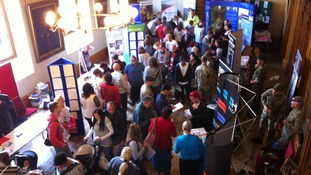 People attending the jobs fair at Worcester Guild Hall today