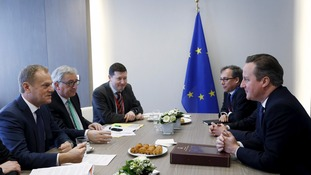 David Cameron attends a bilateral meeting with European Council President Donald Tusk and European Commission President Jean-Claude Juncker.