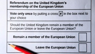 Proposed ballot paper for the UK's referendum on EU membership