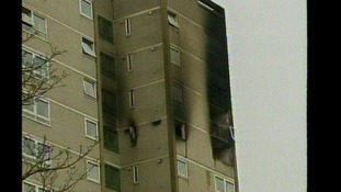 The scene of the Harrow Court fire from 2005