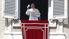 Pope Francis in St Peter's Square at the Vatican today