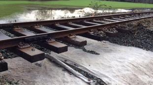Flooded railway