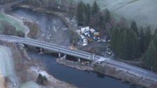 The viaduct at Lamington, north of Carlisle, was seriously damaged during Storm Frank.