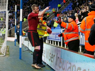 Chris Brunt reacts angrily after a coin is thrown from the crowd after the FA Cup defeat at Reading