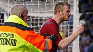 Brunt confronts the West Brom fans at the Madejski Stadium