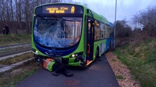 The bus that crashed in Cambridgeshire this afternoon