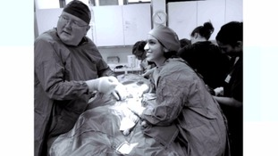 Prof Cahill and Dr Aamna Ali during the procedure.