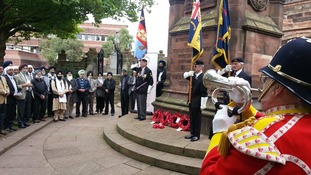 Laying the wreath in Wolverhampton