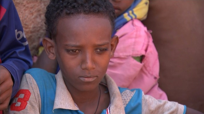 A newly arrived child at a reception centre of Eritrean refugees in the north of Ethiopia
