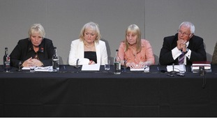 Hillsborough Family Support Group members Jenny Hicks (2nd left), Margaret Aspinall, and Trevor Hicks  during a press conference.