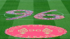 96, made up of fans scarves, fills the centre circle before the Hillsborough 25th Anniversary Memorial Service at Anfield Stadium