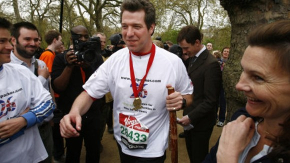 Phil Packer walks the London Marathon