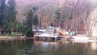 Temporary metal structure moved into place at Pooley Bridge