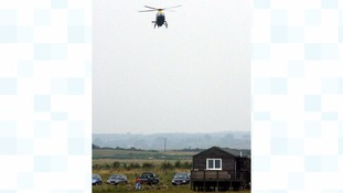The police helicopter in use in Suffolk.