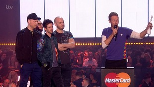 Coldplay dedicated their award to all the musicians in refugee camps.