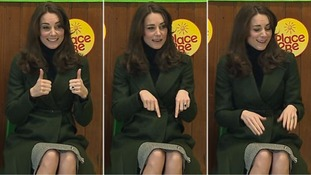 Kate wore a forest green Max Mara coat and a skirt by Le Kilt for the visit