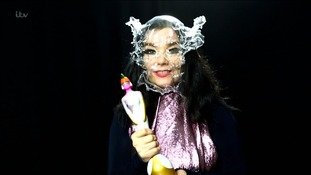 Bjork accepted her award in her usual wacky style.