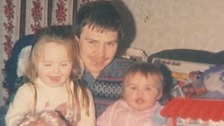 Alan McGlone with his young daughters Amy and Claire