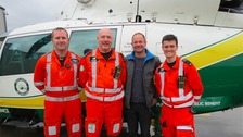 Pilot Owen McTeggart, Paramedic Terry Sharpe, Dave Tighe and Dr Chris Smith.