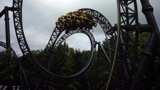 General view of the Smiler roller coaster in operation.
