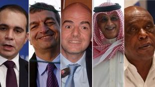 Fifa candidates (l-r): Prince Ali Bin Hussein, Jerome Champagne, Gianni Infantinom, Sheikh Salman bin Ebrahim Al Khalif and Tokyo Sexwale.