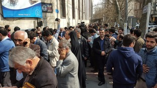 Voters outside the Hosseinieh Ershad polling station