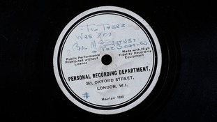 It has a handwritten label by the band's manager Brian Epstein