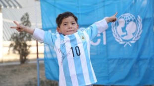 Afghan Messi fan in plastic shirt set to meet his hero
