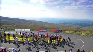 The 2015 Tour of Britain races up Hartside Pass in Cumbria.