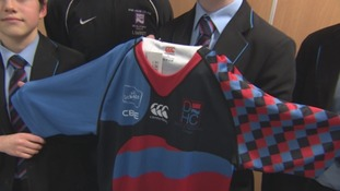 Students from Dyke House School in Hartlepool with their specially designed rugby shirt