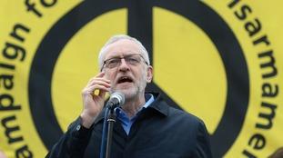 Jeremy Corbyn addresses the anti-Trident rally