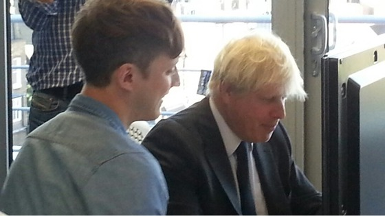 Boris Johnson at a computer.