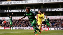 Swansea City's Alberto Paloschi scored his first premier league goal for the Swans