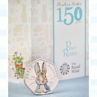 The coin marks 150 years since Beatrix Potter's birth
